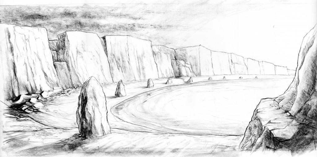 sketch of surreal coast landscape